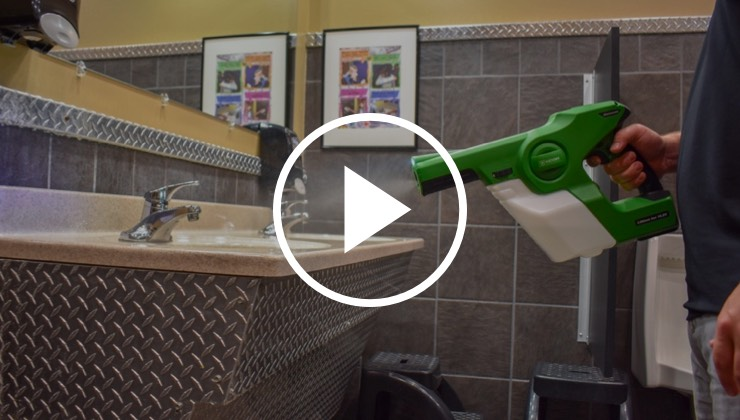 Our handheld sprayer being used to disinfect a sink in a public restroom
