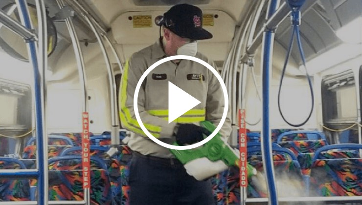 Our handheld sprayer being used to disinfect mass transit