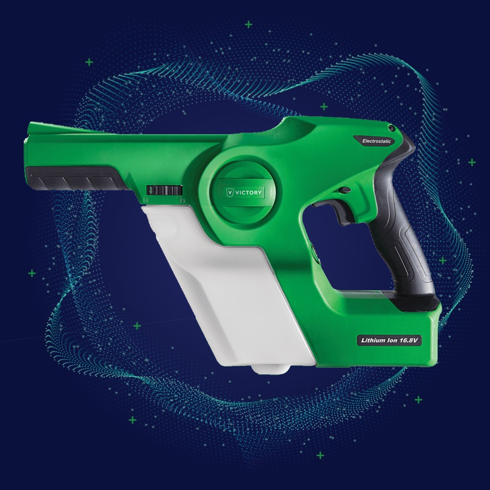 Green handheld spray gun on a wavy tech background
