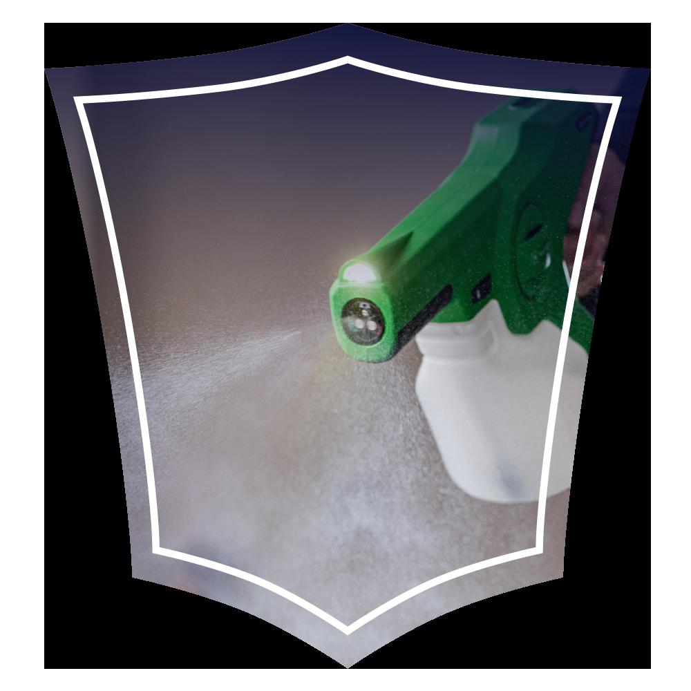 Green handheld spray gun on a wavy tech background